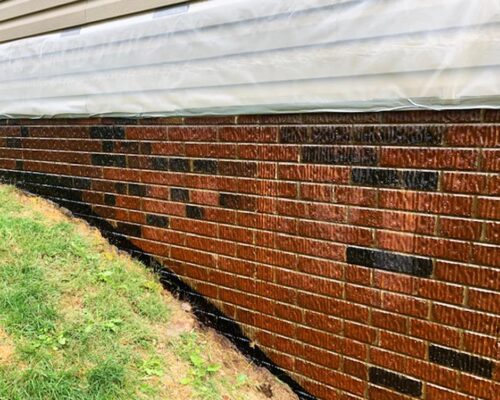 Stained Stamped Concrete Wall