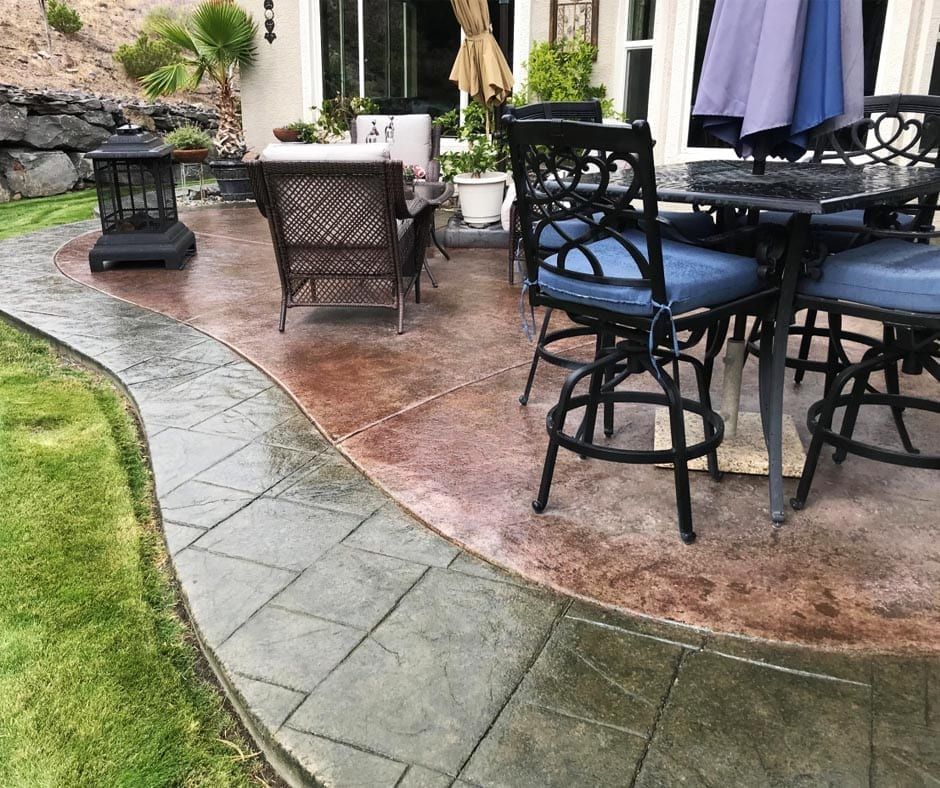 Stamped Concrete Patio - Antiquing Stains: Olive, Black, Aztec Brown and Charcoal. Satin Finish Solvent Based Acrylic Sealer