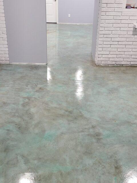 Azure Blue Acid Stain Living Floor