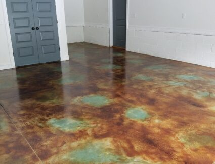 Marbled Acid Stained Concrete Floor