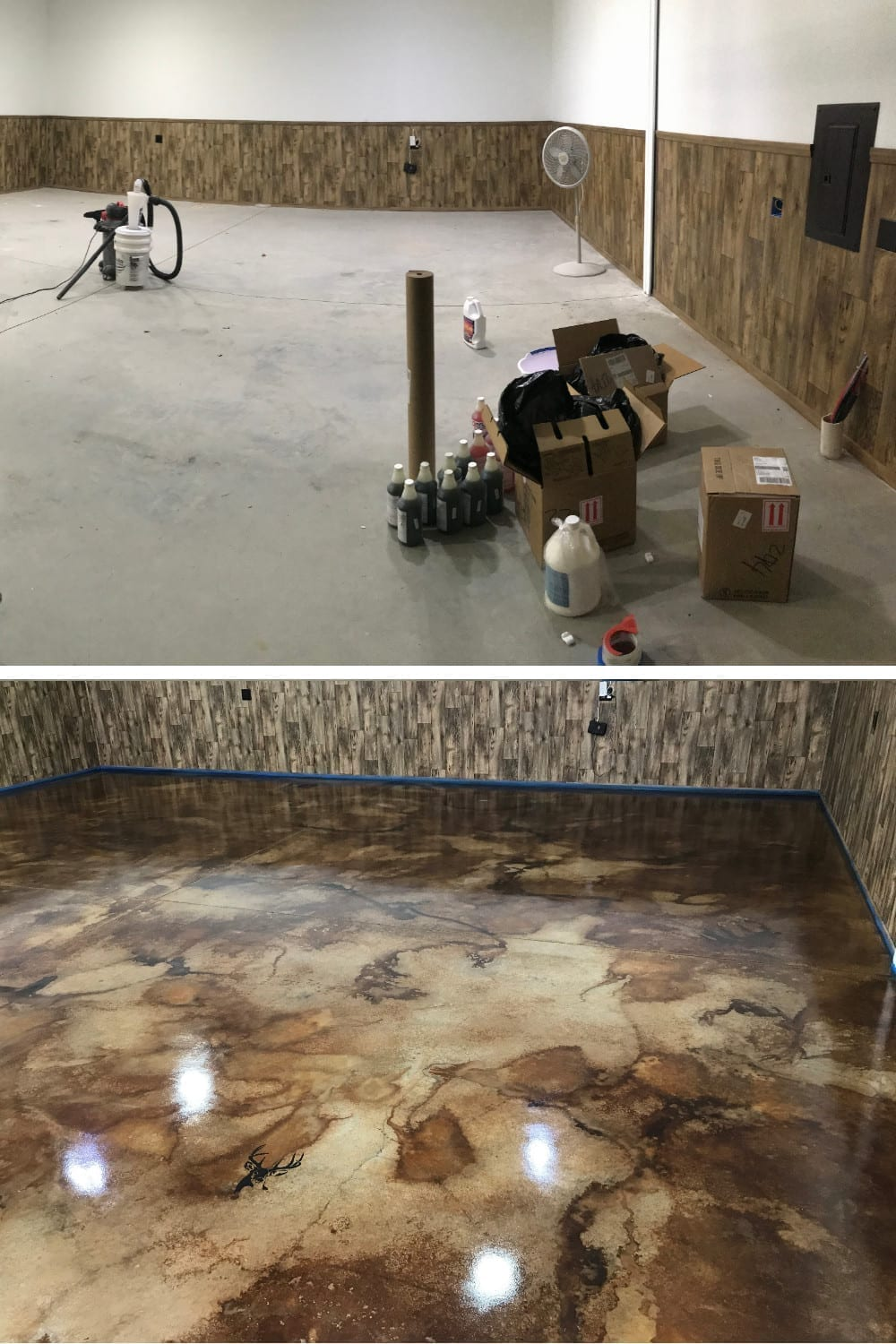Before and After Acid Stained Concrete Floor