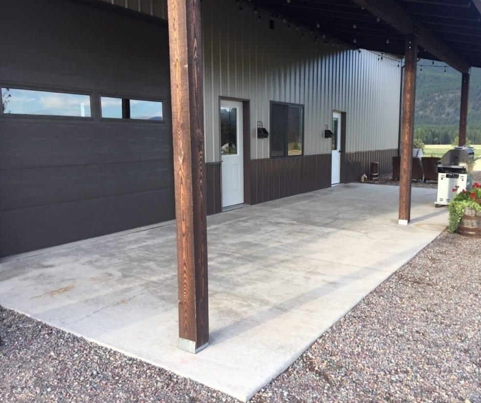 DIY Pole Barn Style Concrete Patio