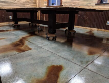 Coffee Brown and Azure Blue Acid Stained Floor