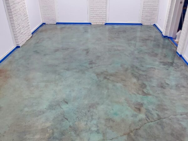 Blue Acid Stained Concrete Basement Floor