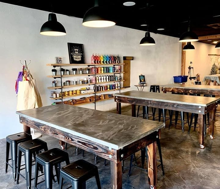Coffee N' Crafts Concrete Stained tables