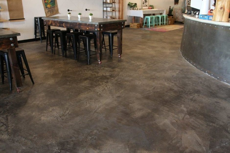 Coffee N' Crafts Concrete stained and sealed floor with tinted concrete sealer