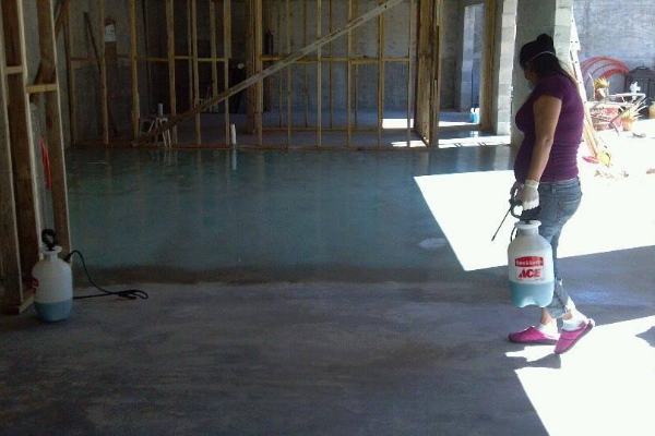 Residential Azure Blue Acid Stain Application with Sprayer