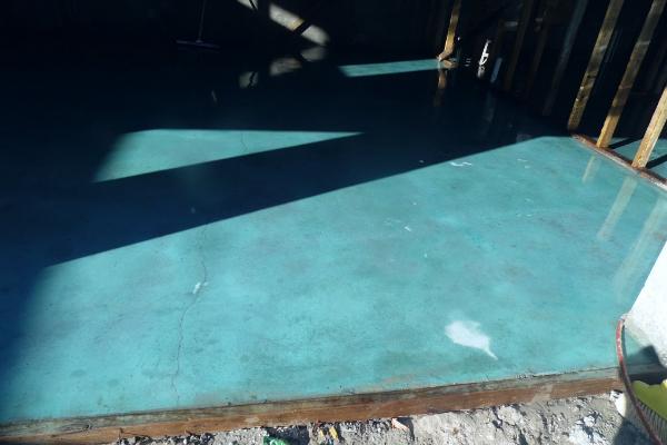 Residential Azure Blue Acid Stain Application