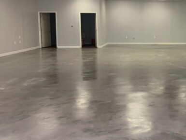 Silver Gray Colored Concrete Stained Basement