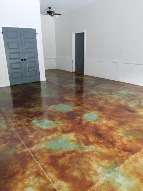 Acid Stained Concrete Basement Floor