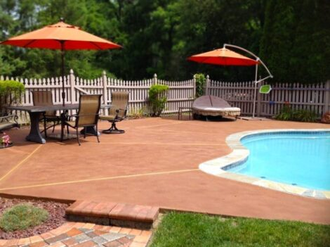 Stained Concrete Pool Deck and Patio