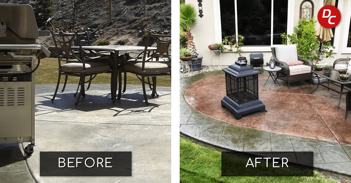 Stained Concrete Patio Before and After Picture