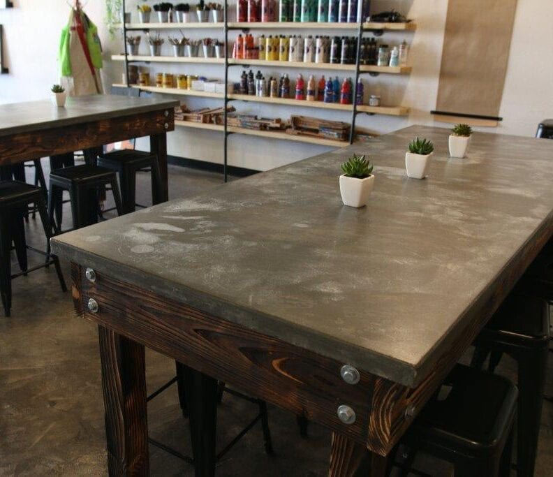 Coffee N' Crafts concrete with pigment tables