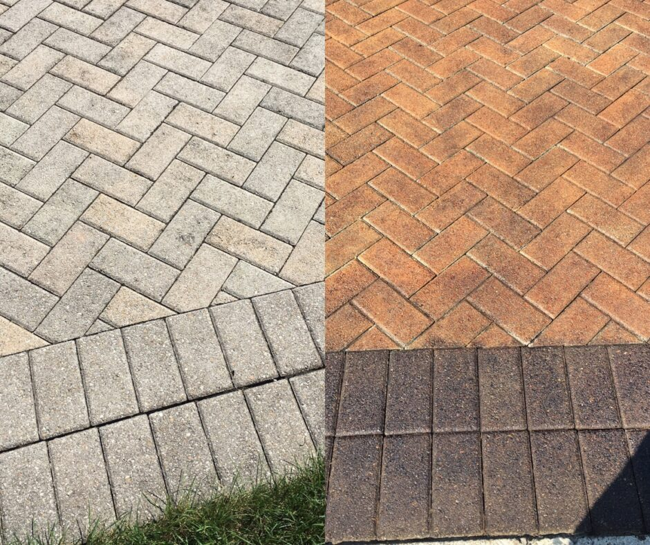 Before and After Images Stained Concrete Pavers