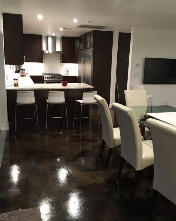 Coffee Brown and Black Acid Stained Concrete Floors
