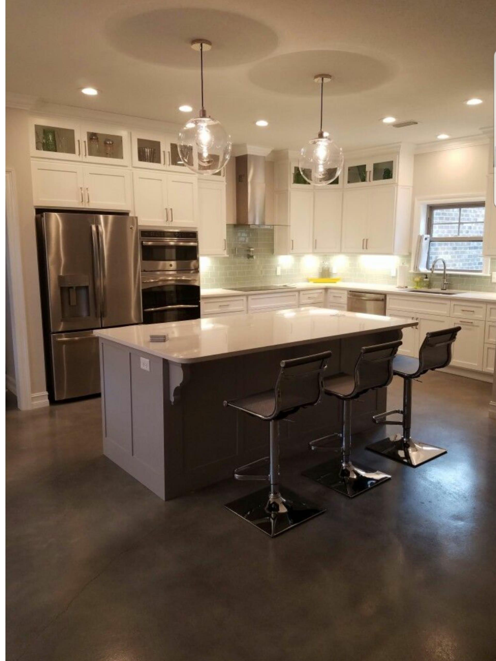 Stormy gray, white, charcoal, light slate concrete dye kitchen floor