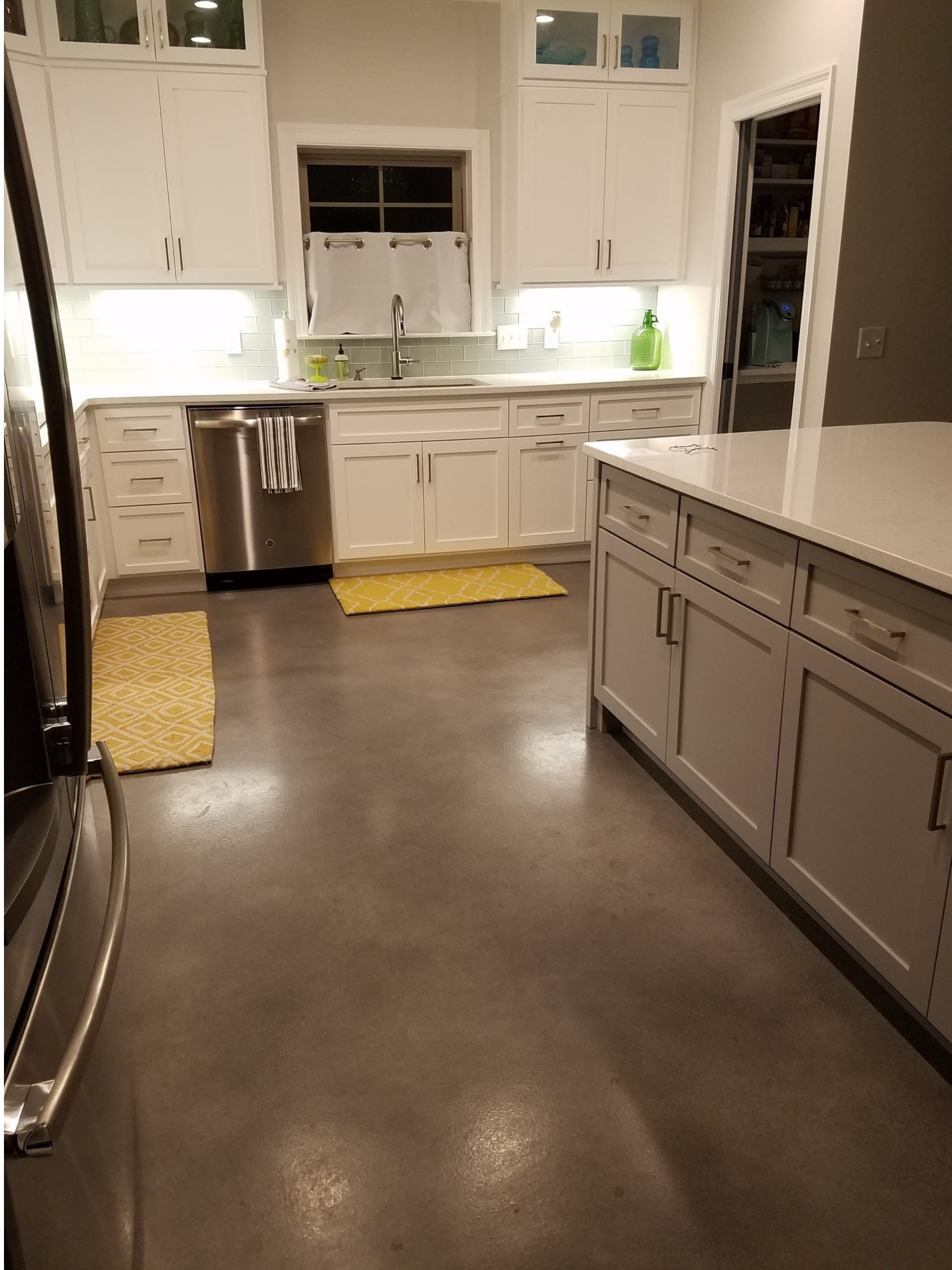 Stormy Gray, White, Charcoal & Light Slate Concrete Dye Stained Kitchen Floor