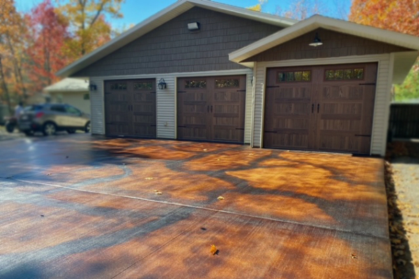 Driveway Brushed Concrete - EverStain Malayan Buff, Coffee Brown Acid Stains-