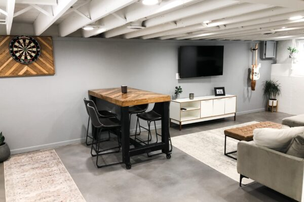 Refinished Concrete Basement with Vibrance Dye