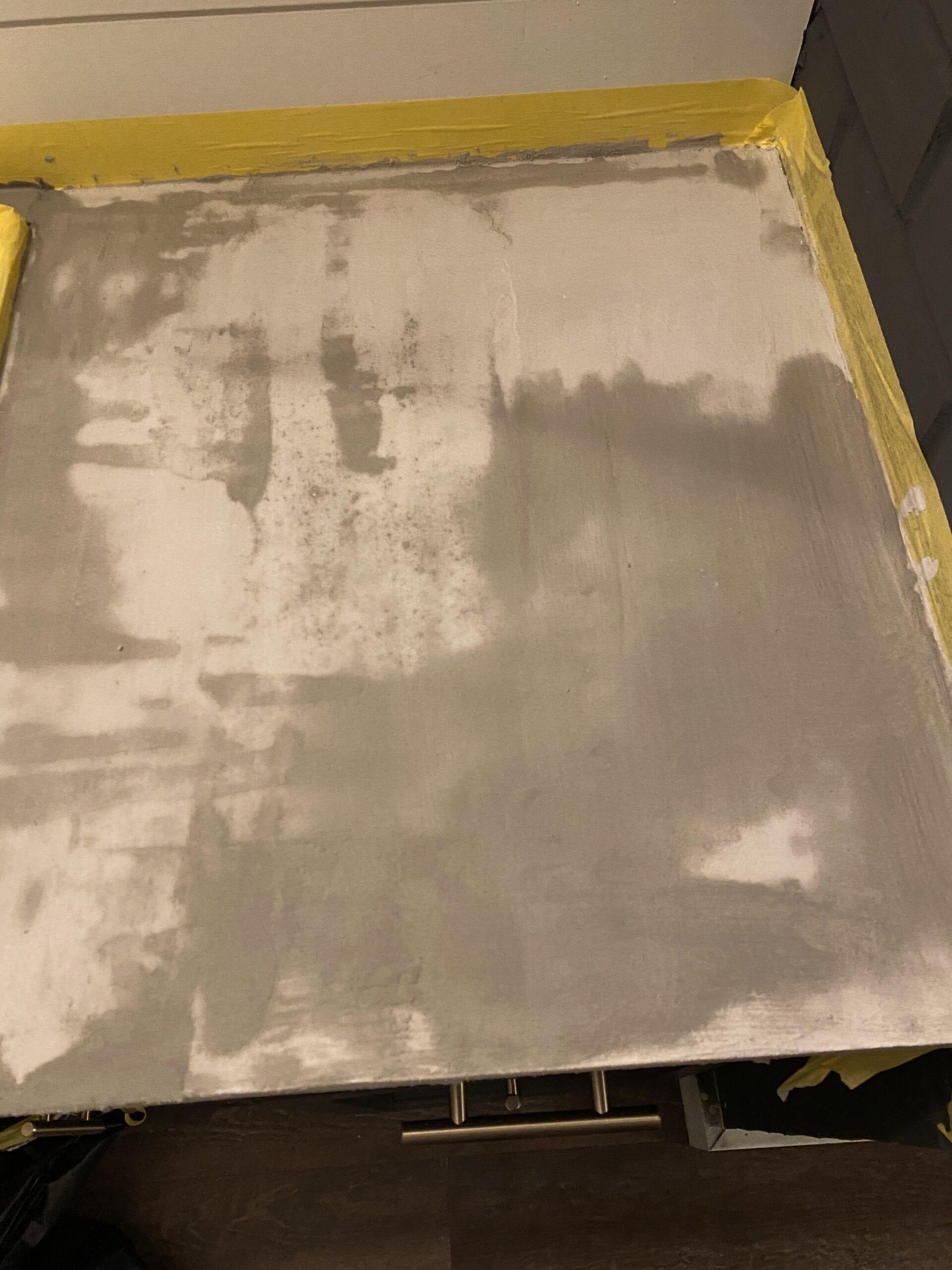 Ash Concrete Overlay Over Laminate Bathroom Countertop
