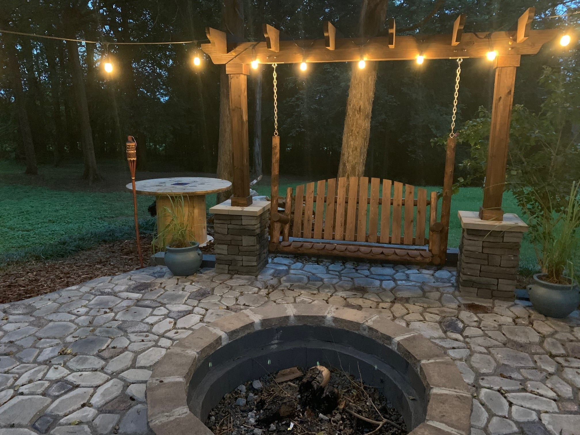 Charcoal Stained Quikrete Walkmaker Concrete Paver Patio