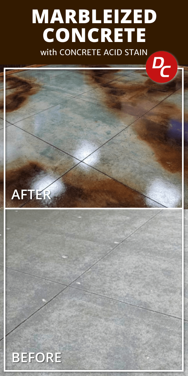 Marbleized Concrete Floor with Direct Colors Azure Blue and Coffee Brown Acid Stainsth Azure Blue and Coffee Brown Acid Stains