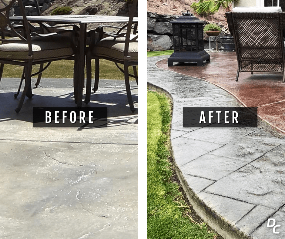 Stained Concrete Patio Before and After Photo