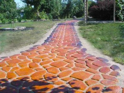 Stepping stones stained with Direct Colors Black, Cola and English Red Acid Stains