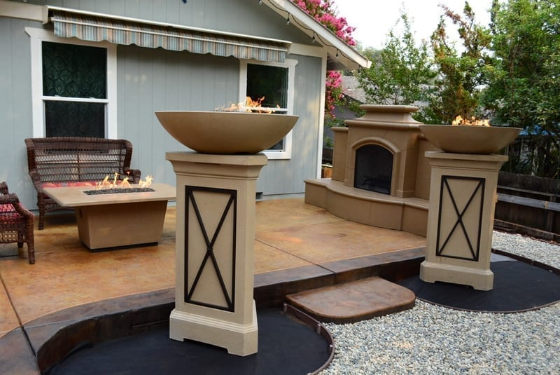 acid stained concrete patio and fire features