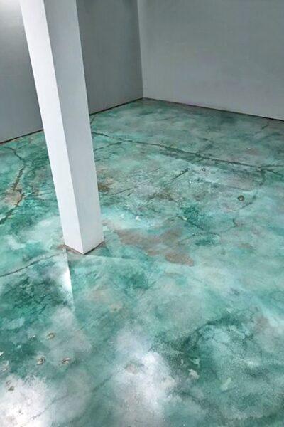 Turquoise Blue Concrete Floor