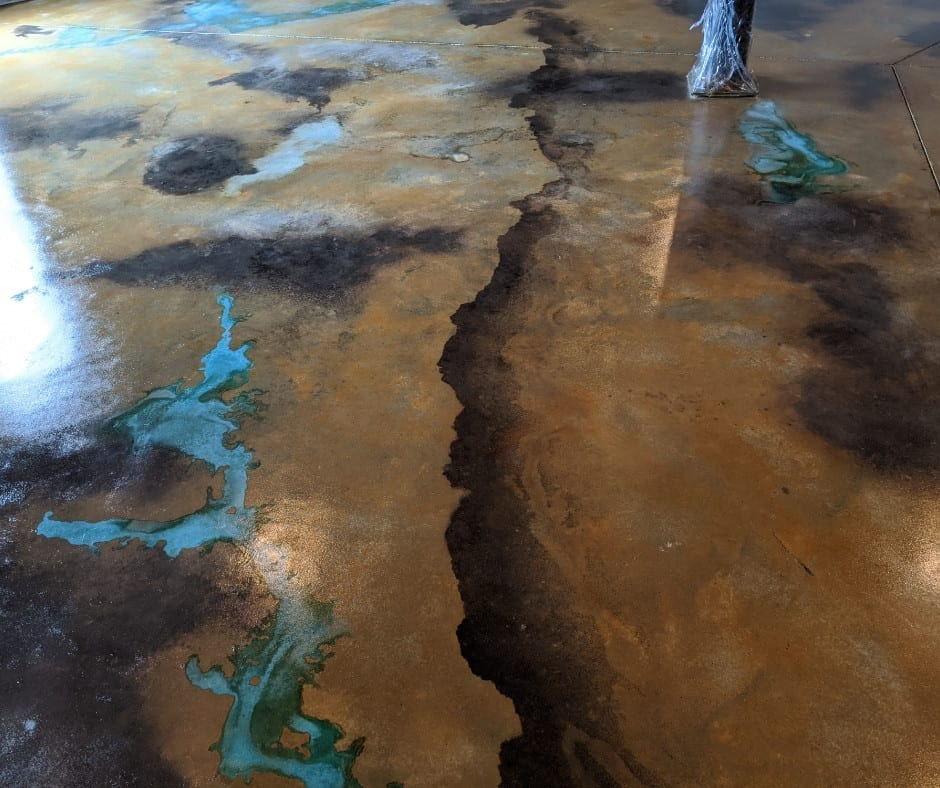 Sealed acid stained concrete floor