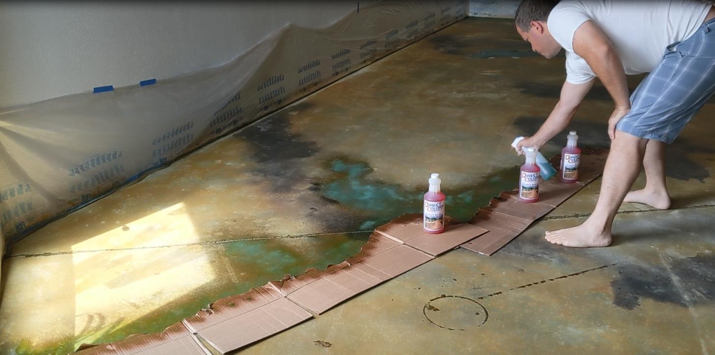 Acid Stain Veining Technique Using Cardboard