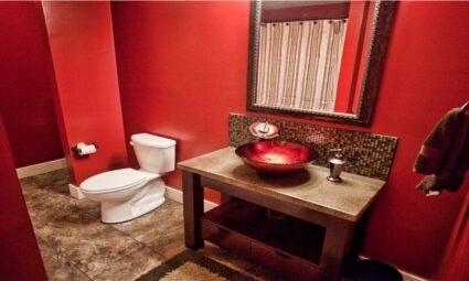 black acid stained concrete bathroom vanity