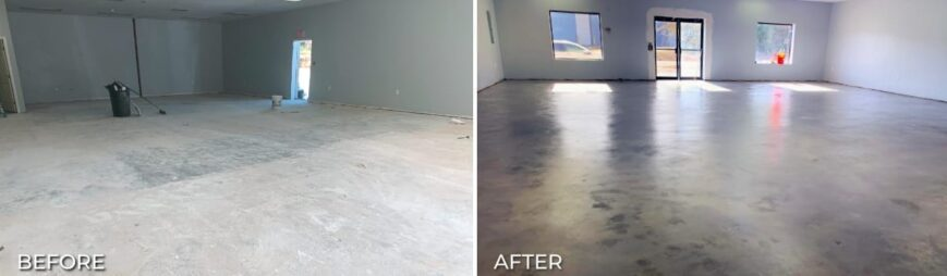 Before and after applying colored concrete sealer