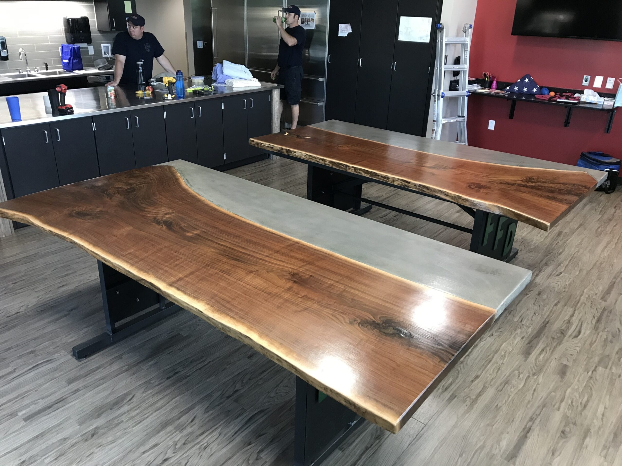Charcoal Dye Stained Concrete and Reclaimed Wood Table