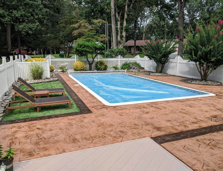 Stained Stamped Concrete Pool Deck