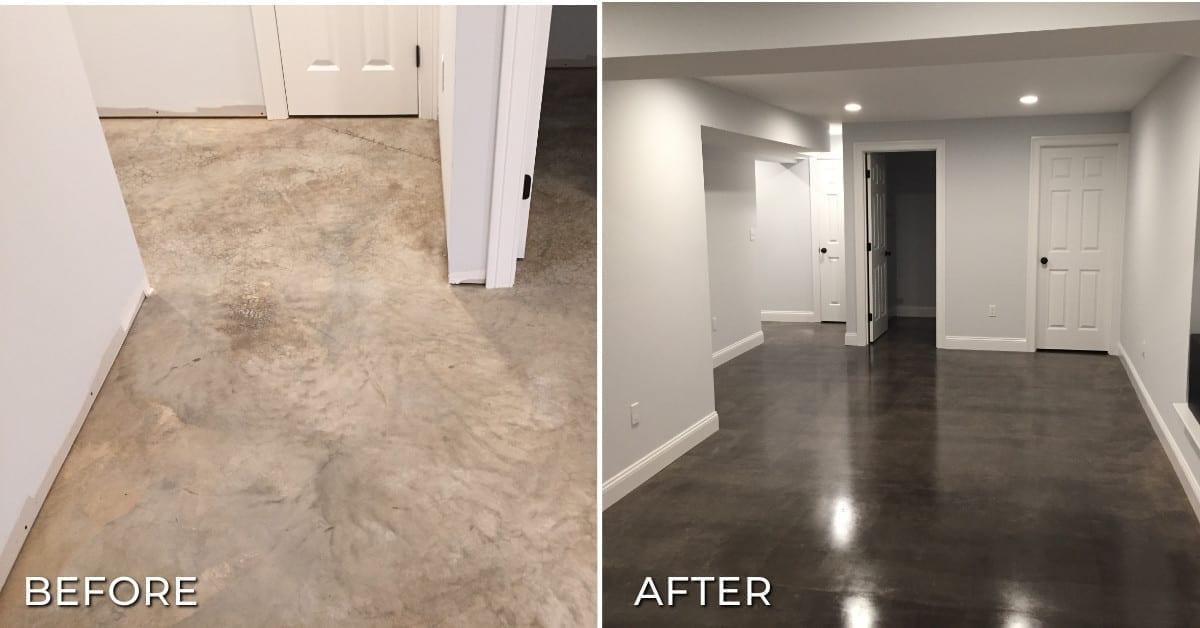 Stain concrete basement floor