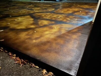 Malayan Buff, Coffee Brown Acid Stained Driveway - Detail