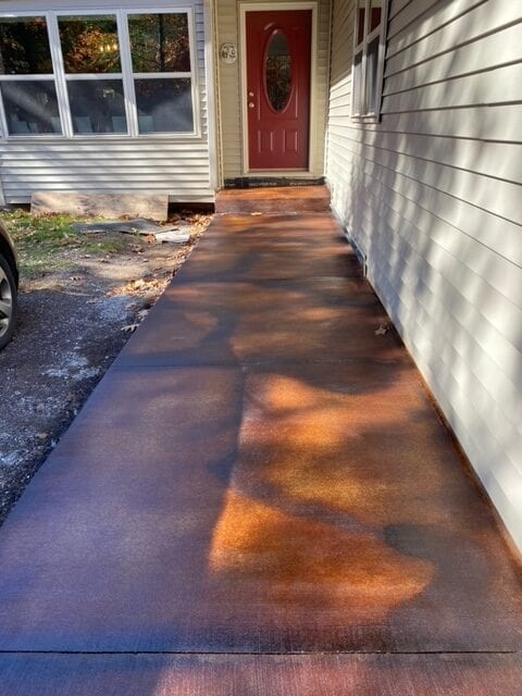 Malayan Buff, Coffee Brown Acid Stained Walkway