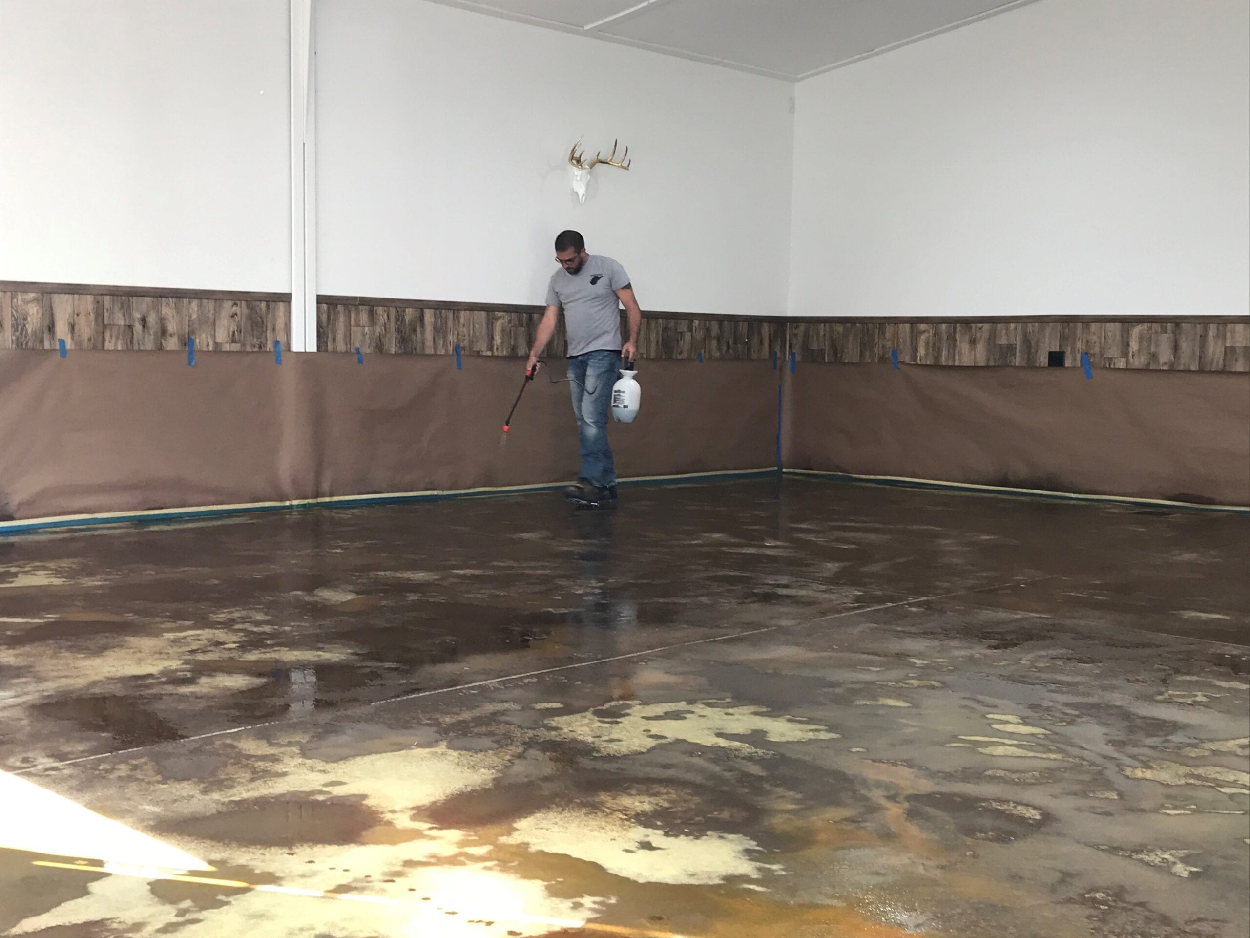 Man cave concrete stained garage floor process