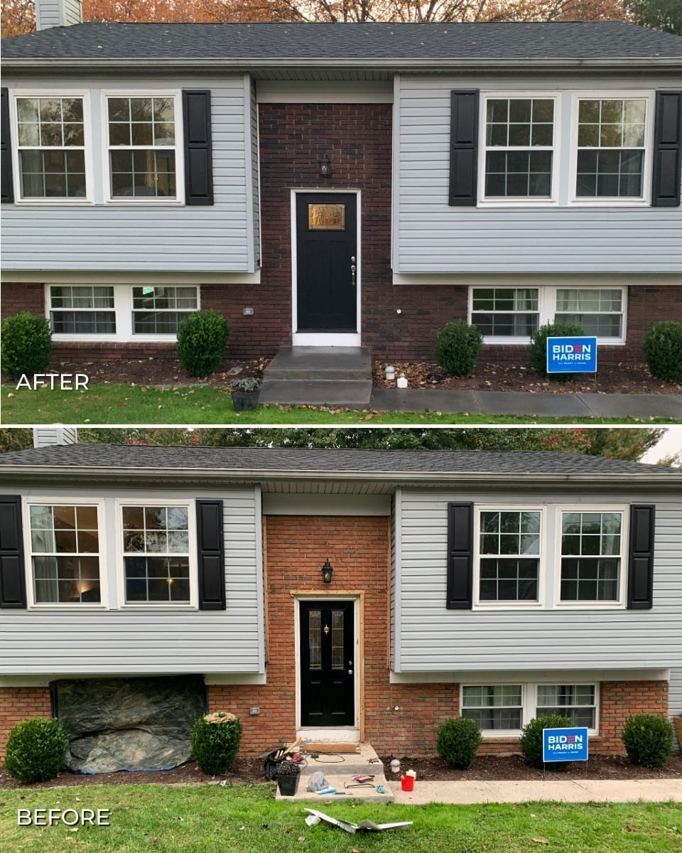 Before and After Picture of Staining Brick with Concrete Stains Before and After Pictures