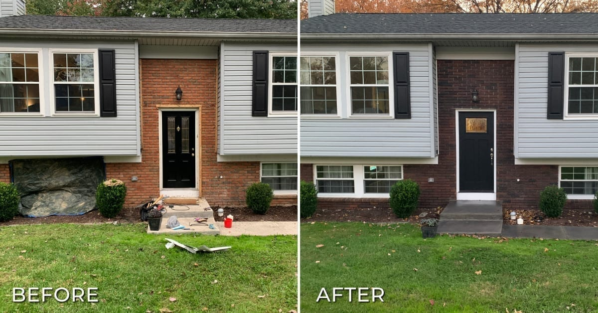 Staining Brick with Concrete Stains Before and After Photo