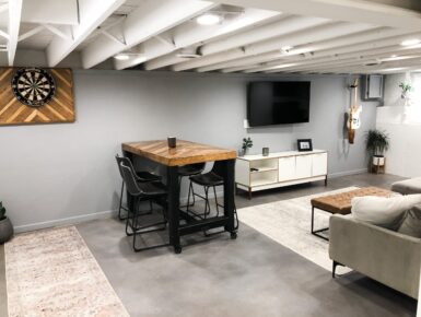 Gray Stained Concrete Basement Floor