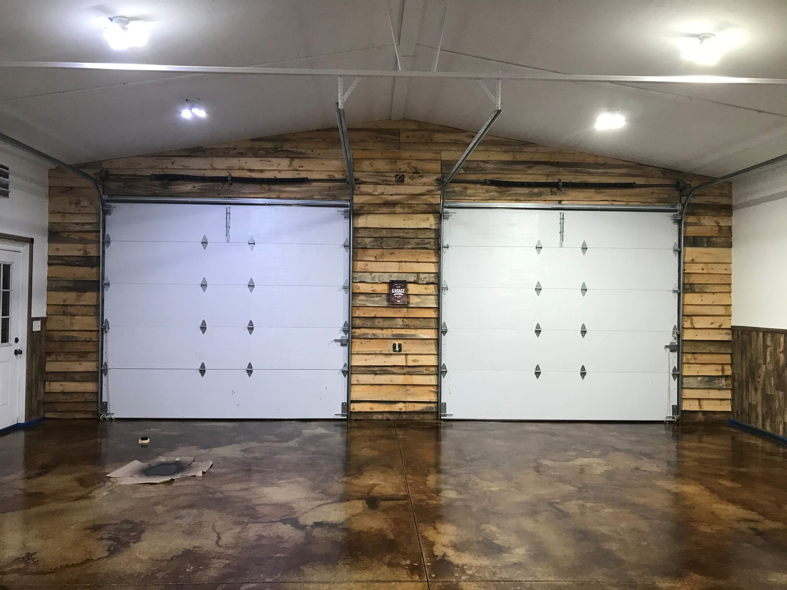 Man cave concrete stained garage floor