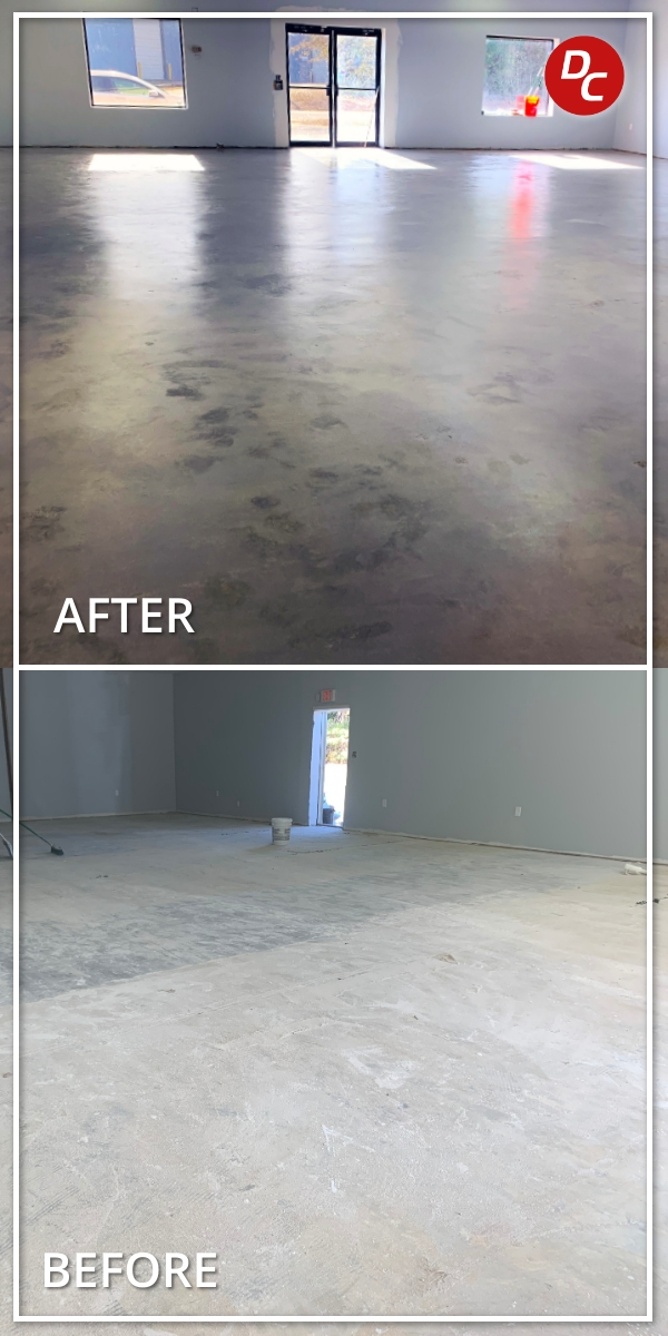 Before and After Colored Sealer Concrete Floor