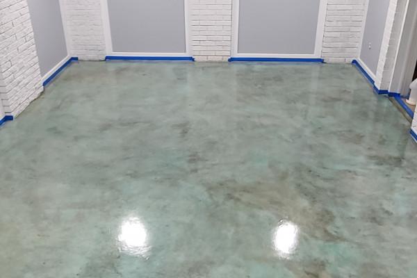 Basement Concrete Floor - Azure Blue Acid Stain