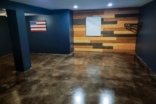 Basement Concrete Floor - Black Acid Stain