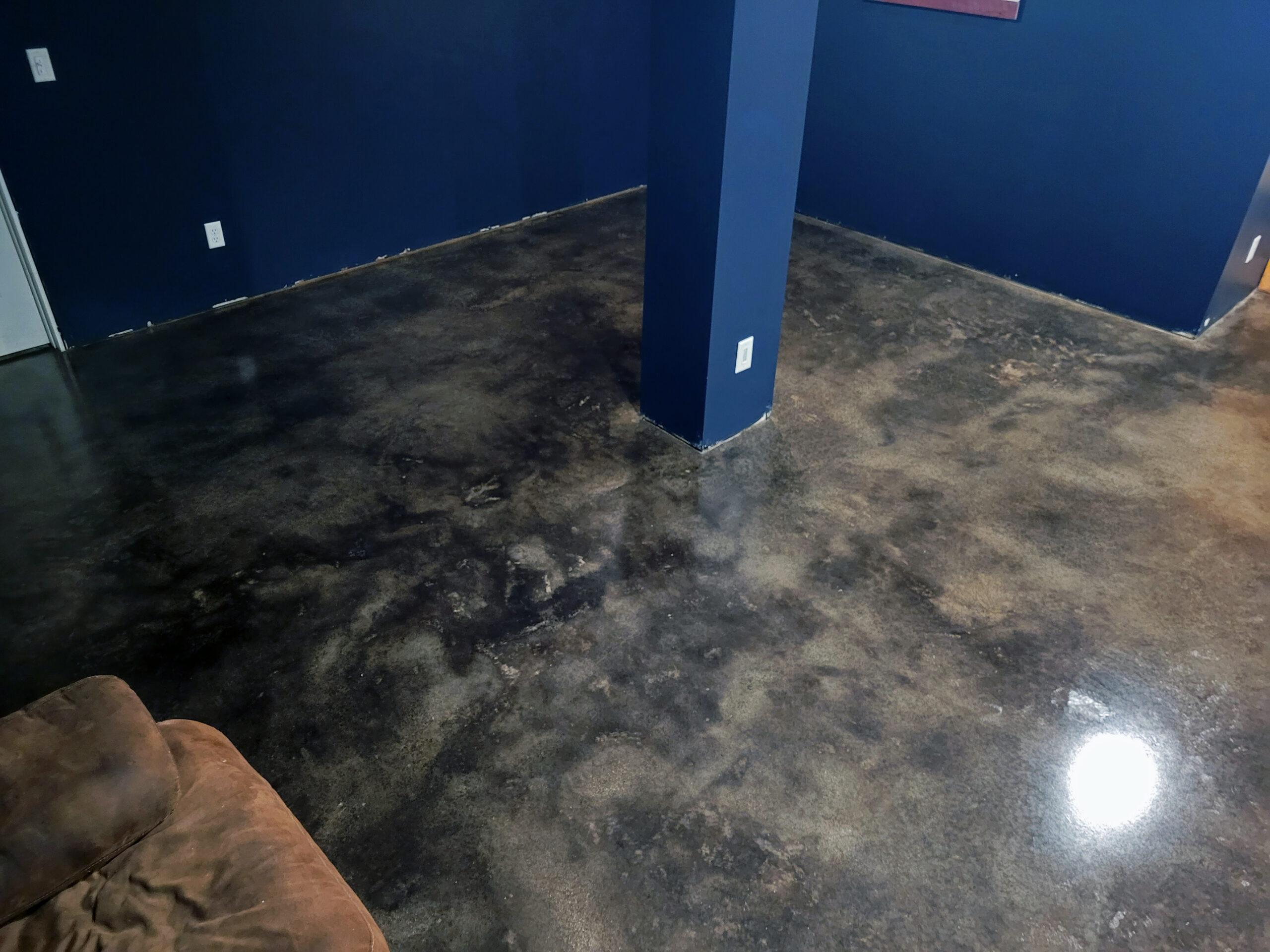 Black Acid Stain Concrete Basement Floor