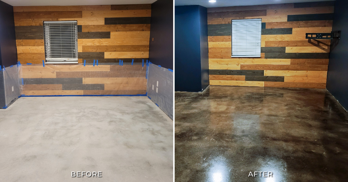 Black Stained Concrete Basement Before and After Photos