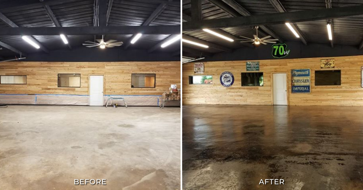 Black Stained Concrete Garage Floor Before and After Photos